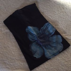 Black strapless top with blue flower